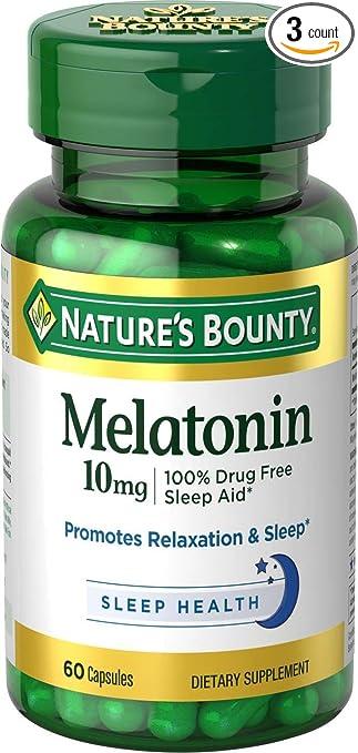 Melatonin 10 mg, 3 Bottles (60 Count)