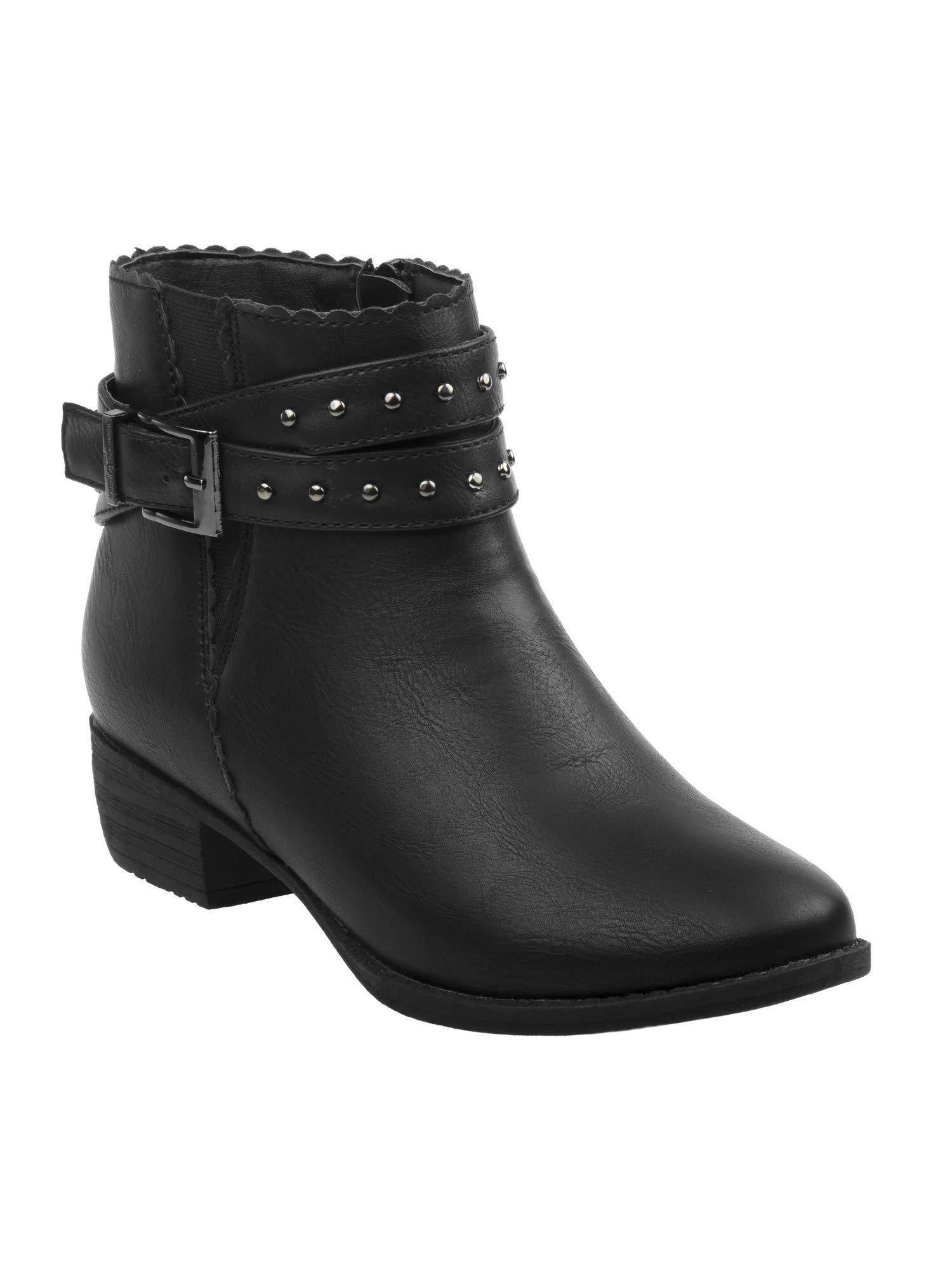 Nanette Lepore Girls Black Studded Buckled Straps Ankle Booties 12 Kids