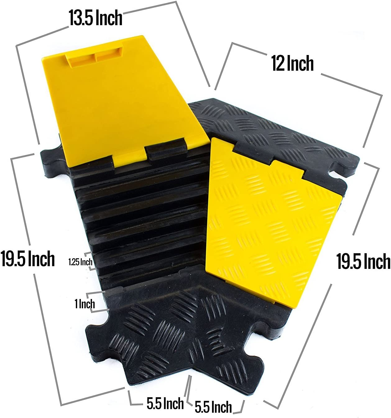1 Piece, 3-Channel Troy Safety Rubber Cable Protectors Rubber Speed Bump