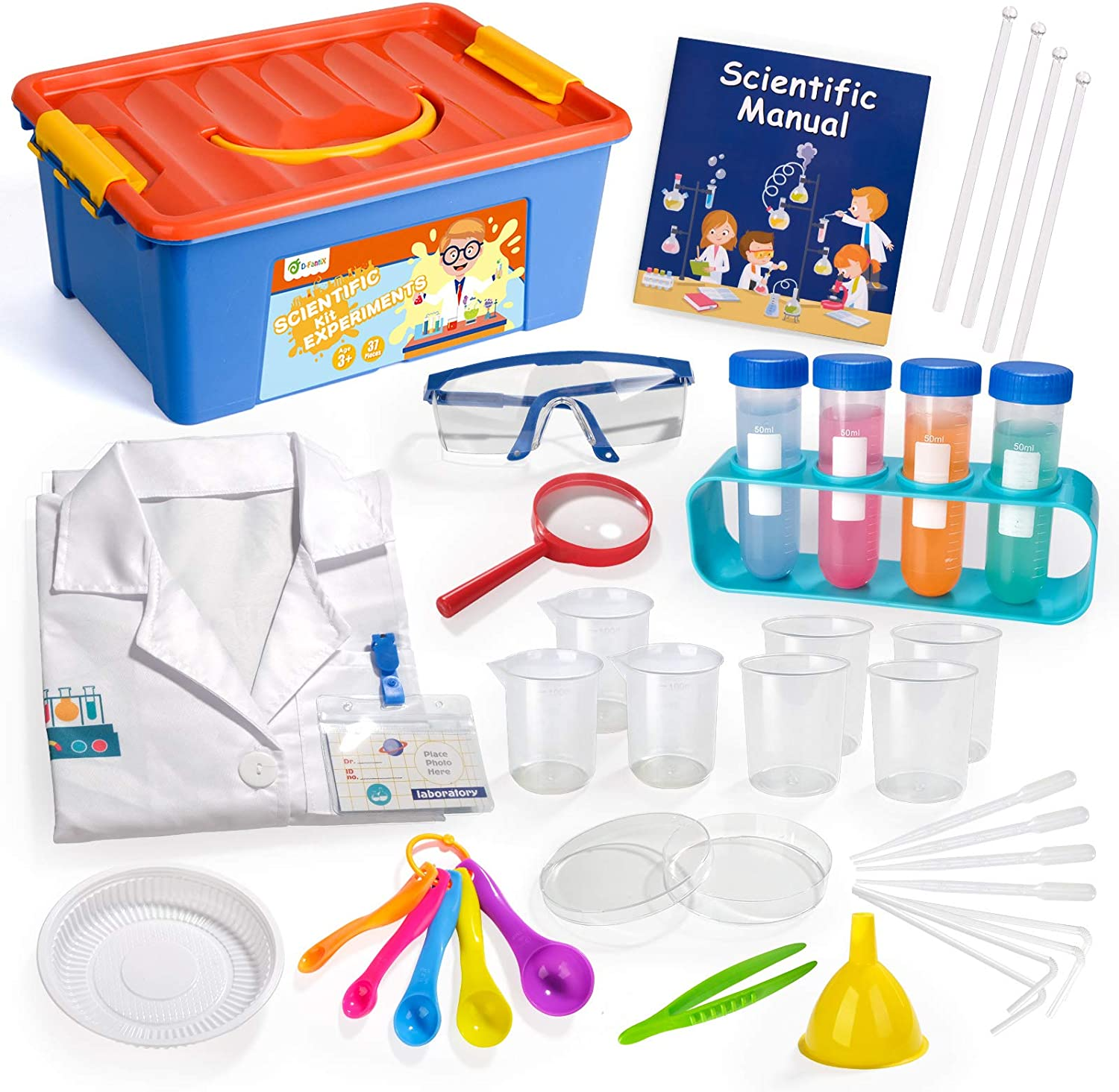 D-FantiX Kids Science Experiment Kit with Lab Coat, 36Pcs Pretend Play Science Kit with Goggles Spoons Toy Laboratory Set Role Play Scientist Costume STEM Toys Gift for Toddlers Age 3 4 5 6 7 8 9 10: Toys & Games