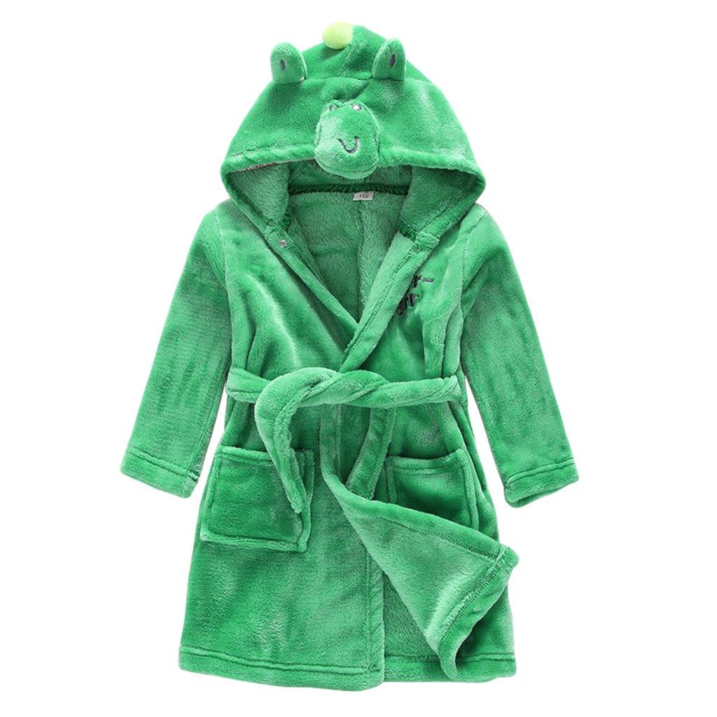 Child Bathrobe Hooded Pajamas 3D Cartoon Animal Towel For Boys Girls Sleepwear Vine dinosaur 130(4-5 years) Vine Trading Co. Ltd B161010YP005905V