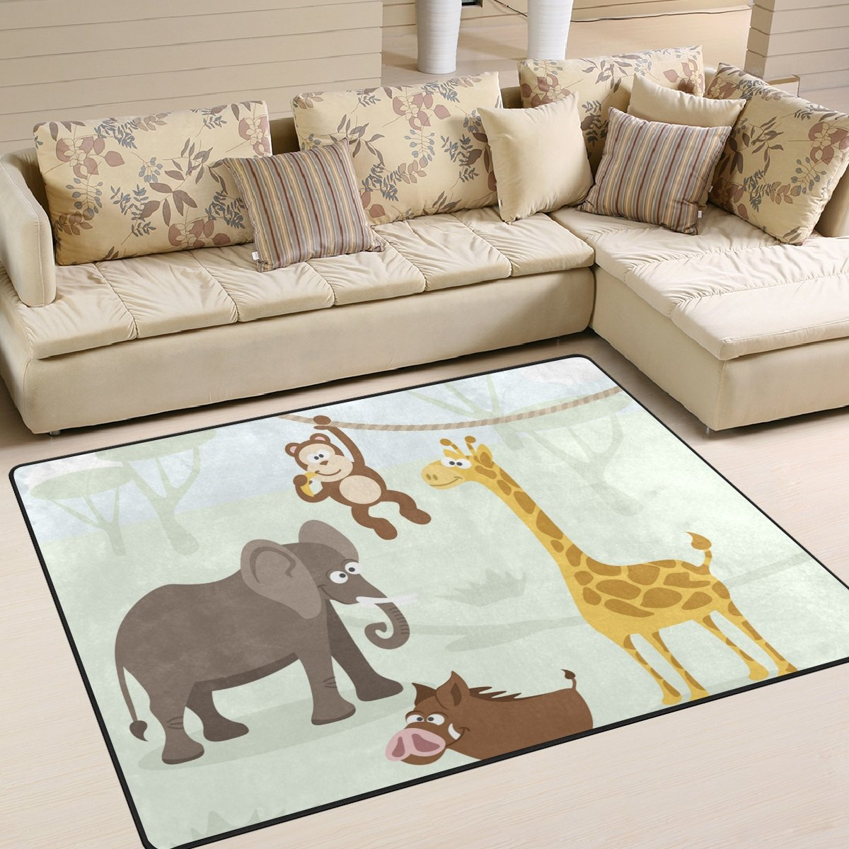 Vantaso Soft Foam Area Rugs Forest Animals Elephant Monkey Non Slip Play Mats for Kids Boys Girls Playing Room Living Room 80x58 inch by Vantaso (Image #2)