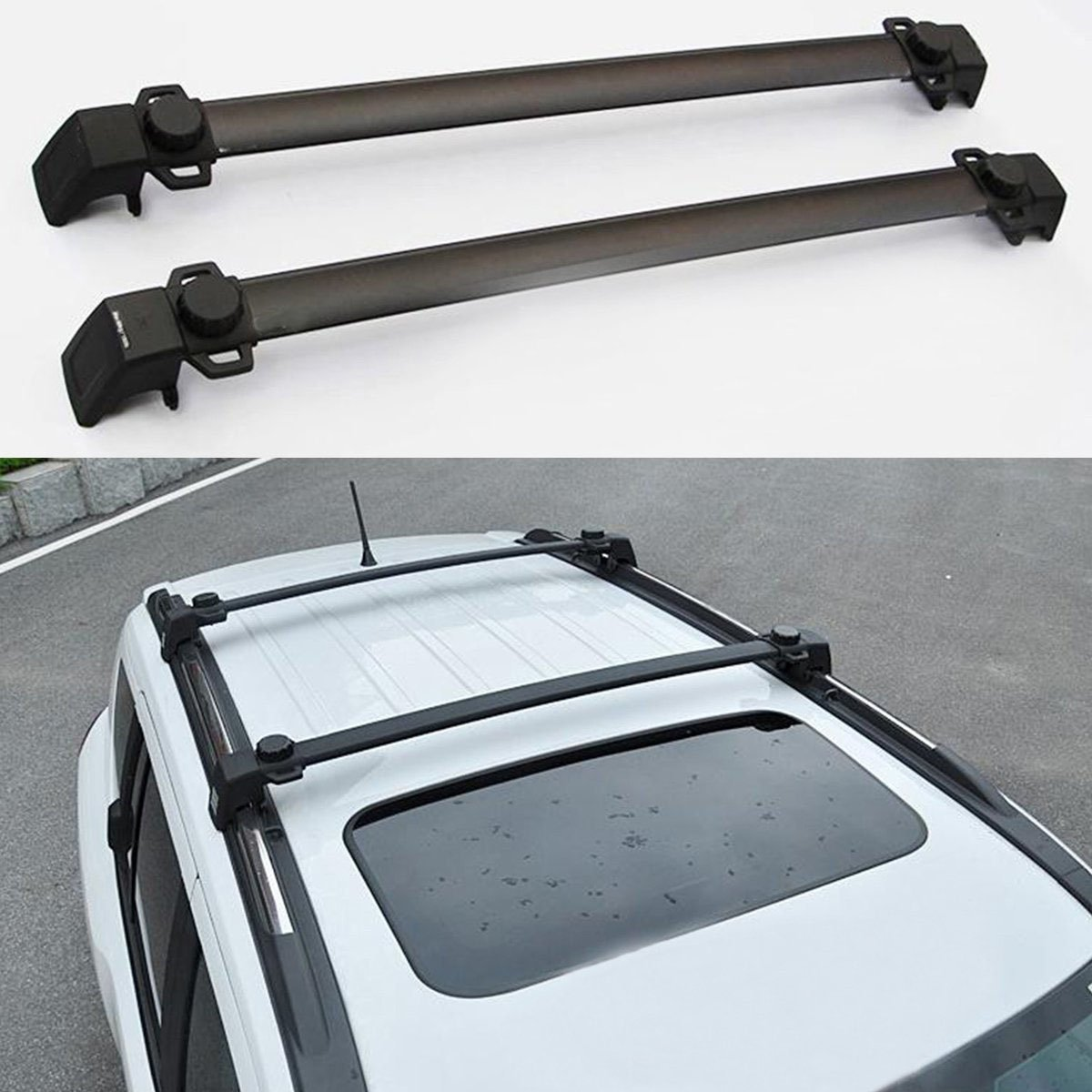 JDopption 2pcs Roof Rails Cross Bar Luggage Rack Crossbar FOR 2011-2015 JEEP Compass