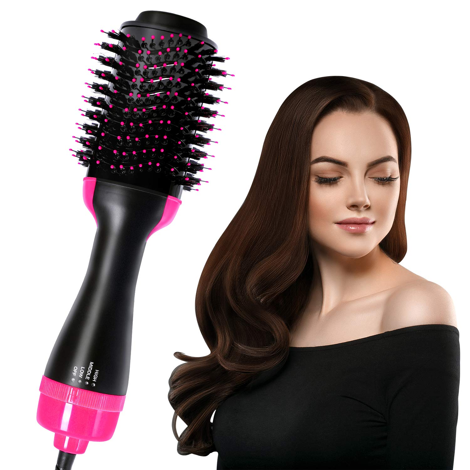 Hot Air Brush, Mirror Eleanos One-Step Hair Dryer, 3-in-1 Hair Dryer Brush for Straightening and Curling