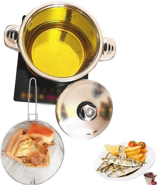 6QT Deep Fryer Set Stainless Steel Deep Fry Basket /& 3-Ply Deep Frying Pot Sauce Pan With Lid