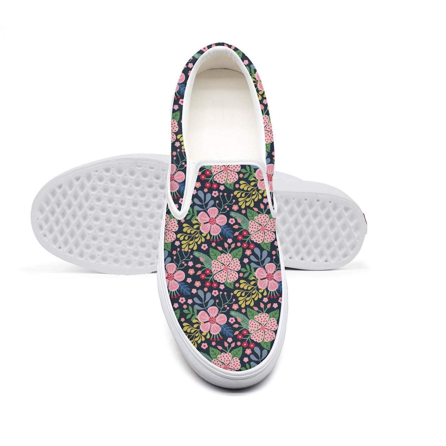 NAILINA Womens Shoes Slip ons Canvas Shoes Skate Sneakers Colorful Lush Flower Vector Pattern Plimsoll Popular