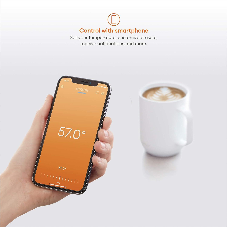 Smarter Ember Becher 2 mit Temperaturregelung neues und verbessertes Design Wei/ß 295 ml per App gesteuerter beheizter Kaffeebecher 1,5 Stunden Akkulaufzeit