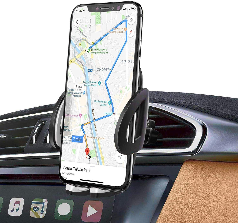 iAmotus Soporte Movil Coche, Soporte Movil Coche Celular Universal para Rejilla Ventilación con Rotación 360 Grados Ajustable con 2 Clips de ventilación Compatible para iPhone Samsung Xiaomi Huawei