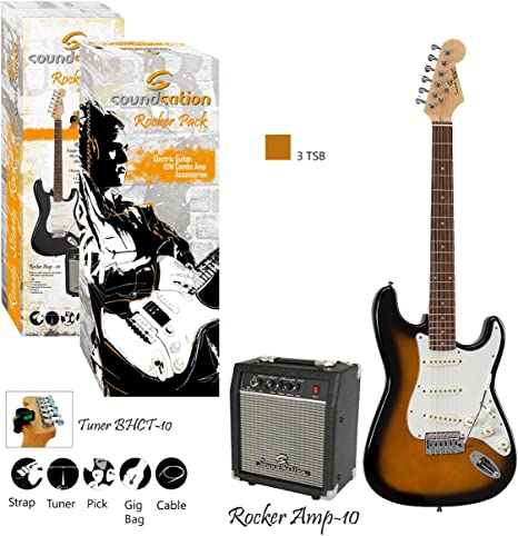 Guitar Pack – Kit Guitarra Eléctrica Rocker Pack 3TS: Amazon.es ...