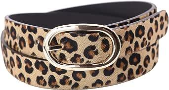 Landes Women's Leopard Print Cow Fur Belt
