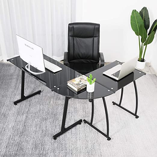 Glass Computer Desk Modern Corner Desk PC Desk,GreenForest Gaming Computer  Table for Home Office Study Gaming Workstation,Black