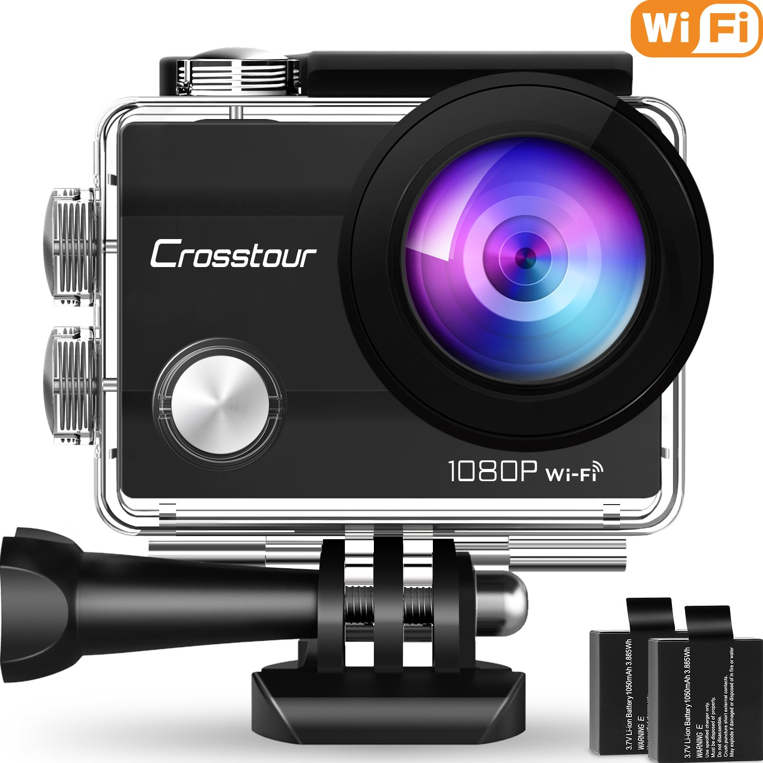 "Crosstour Action Camera Underwater Cam Wi Fi 1080 P Full Hd 12 Mp Waterproof 30m 2"" Lcd 170 Degree Wide Angle Sports Camera With 2 Rechargeable 1050m Ah Batteries And Mounting Accessory Kits (1080 P) by Crosstour"