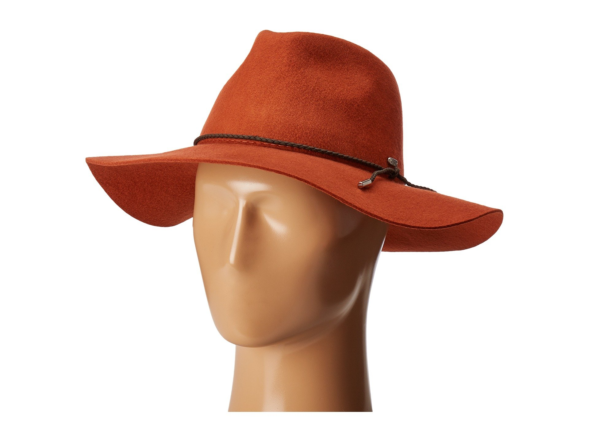 San Diego Hat Company Women's WFH8047 Floppy Fedora with Braided Trim Rust One Size