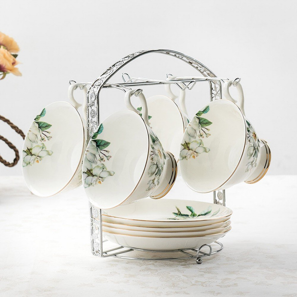 DHG European Bone China Coffee Cup English Coffee Set Personality Creative Ceramic Tea Set Flower Cup Send Shelf,B by DHG (Image #1)