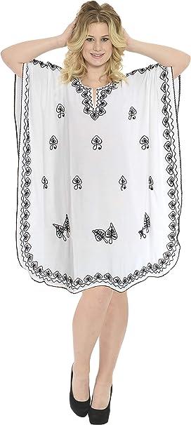 TALLA Talla única. LA LEELA Mujer Kaftan Rayón Túnico Bordado Kimono Estilo Más tamaño Vestido para Loungewear Vacaciones Ropa de Dormir & Cada día Cubrir para Arriba Tops Camisolas Playa