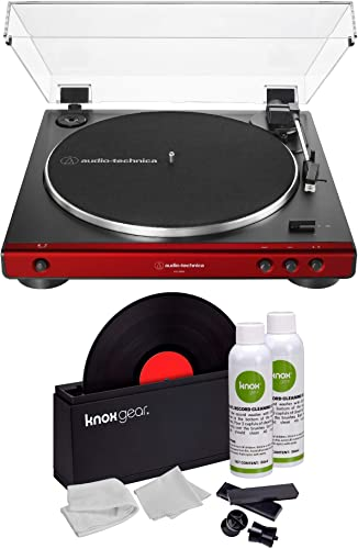 Audio-Technica AT-LP60X Turntable Red Bundle with Knox Gear Vinyl Record Cleaner Kit