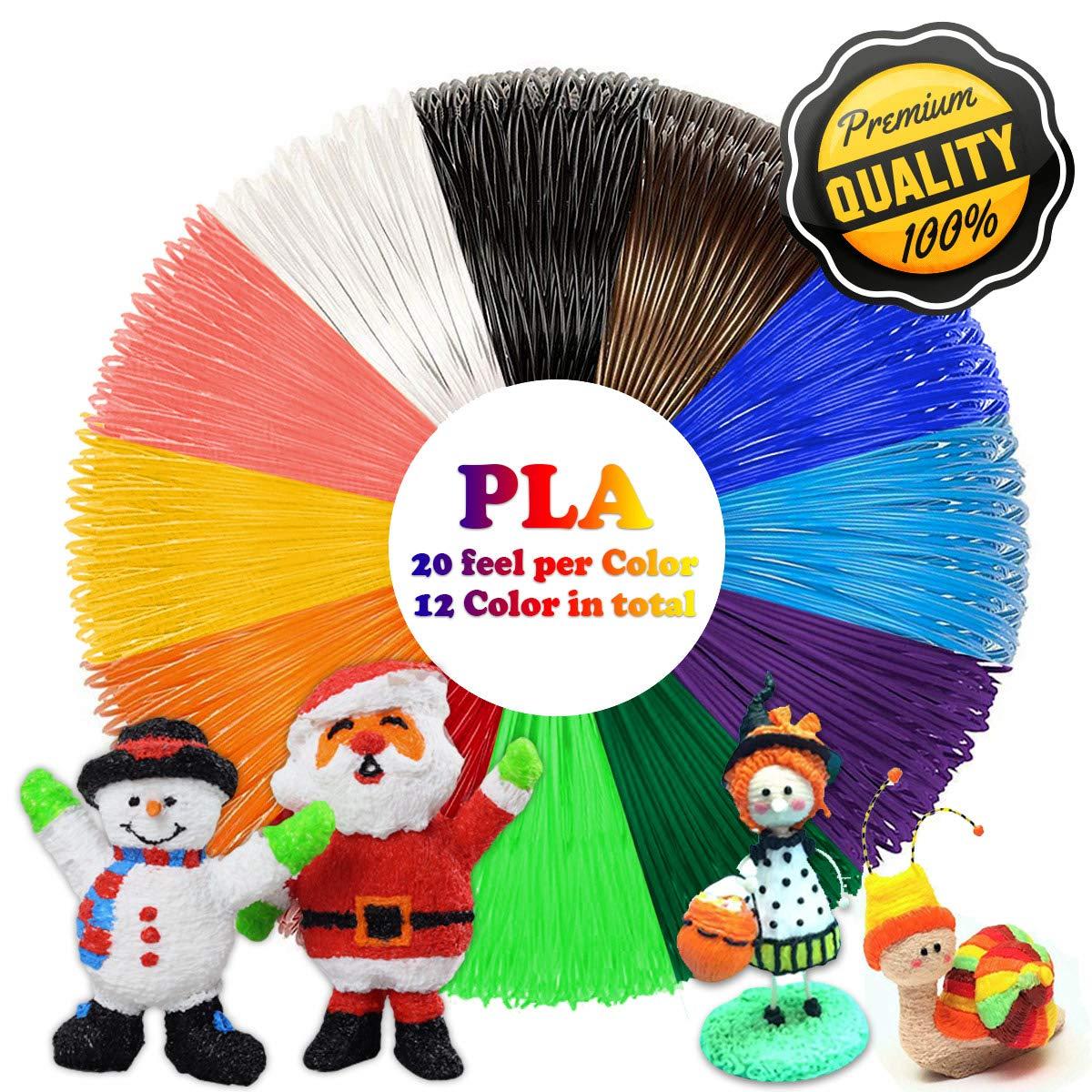 PLA 3D Pen Filament Refills(12 Colors, 20 Feet Each) with 100 Stencils EBooks 3D Printing Pen Filament 1.75mm Total 240 Feet dikale OD3DLINE-DK-12PLA06