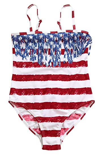 fc4042fb2 Image Unavailable. Image not available for. Color: Ytwysj Girl's 4th July American  Flag Print Striped Star Tassel Little Girl Swimsuit ...