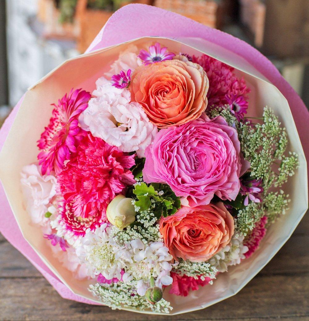 花束 生花 ギフト LLサイズ ( ピンク 系 ) 大臣賞受賞 デザイナー お任せ花束 B01M2YOV8N 通常配送|ピンク系 ピンク系 通常配送