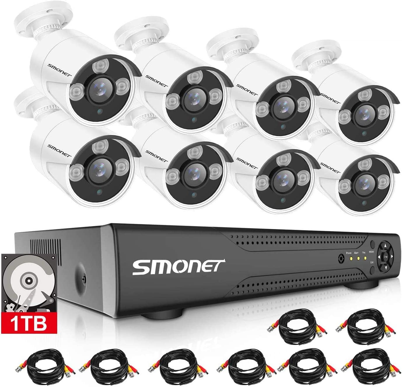 【16CH Expandable】 SMONET Surveillance Camera Systems,5-in-1 5MP Security Camera System(1TB Hard Drive),8pcs 1080P Indoor Outdoor Home Security Cameras,DVR Kits for Easy Remote Monitoring,Night Vision