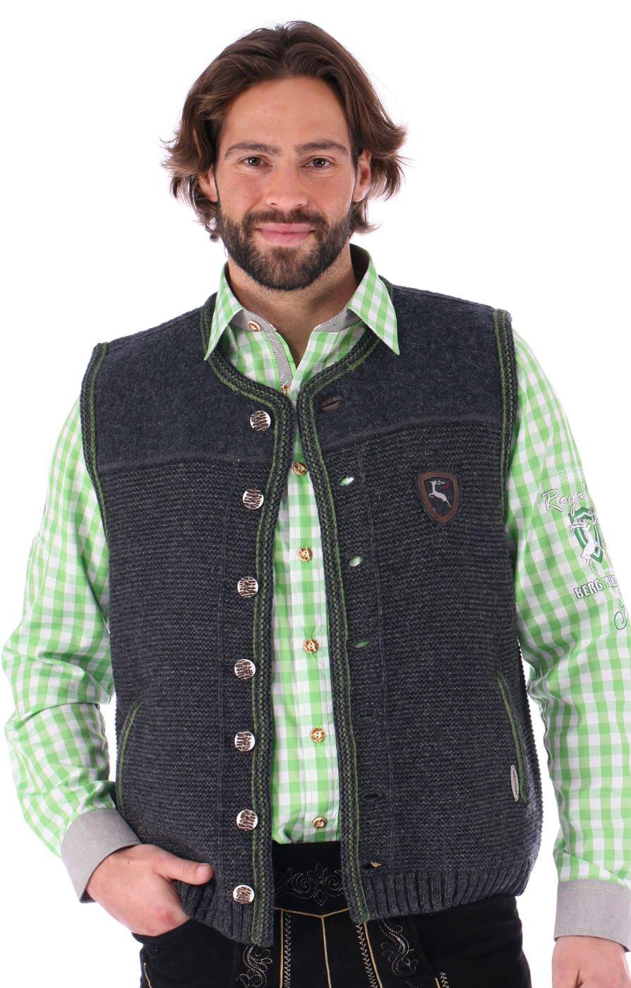German knitted waistcoat Ramsau SW darkgrey-grass