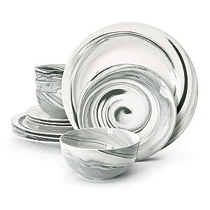 Divitis FUSION 12 Piece Porcelain Dinnerware Set, Round Plates Black (Soup Bowl, Dinner Plate, Salad Plate), Service for 4, Porcelain Dinnerware, Dinnerware Sets, Dinner Plates