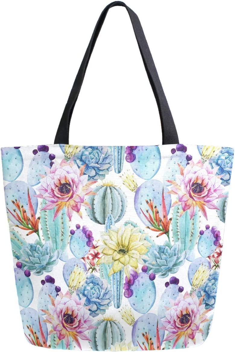 ZzWwR Stylish Tropical Blooming Cactus Print Extra Large Canvas Shoulder Tote Top Storage Handle Bag for Gym Beach Weekender Travel Reusable Grocery Shopping