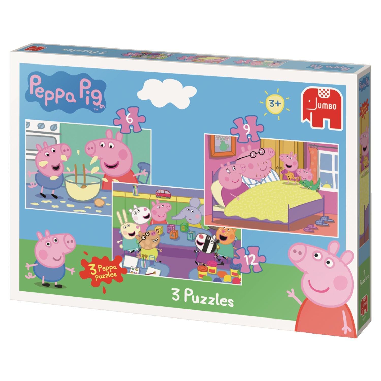 Jumbo 18481 Peppa Pig Trio - Puzzles en caja (6/9/12 piezas): Amazon.es: Juguetes y juegos