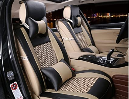 Car & Truck Parts 10pcs Full Set Universal PU Leather Front and Rear Five Seats Car Cushion Covers
