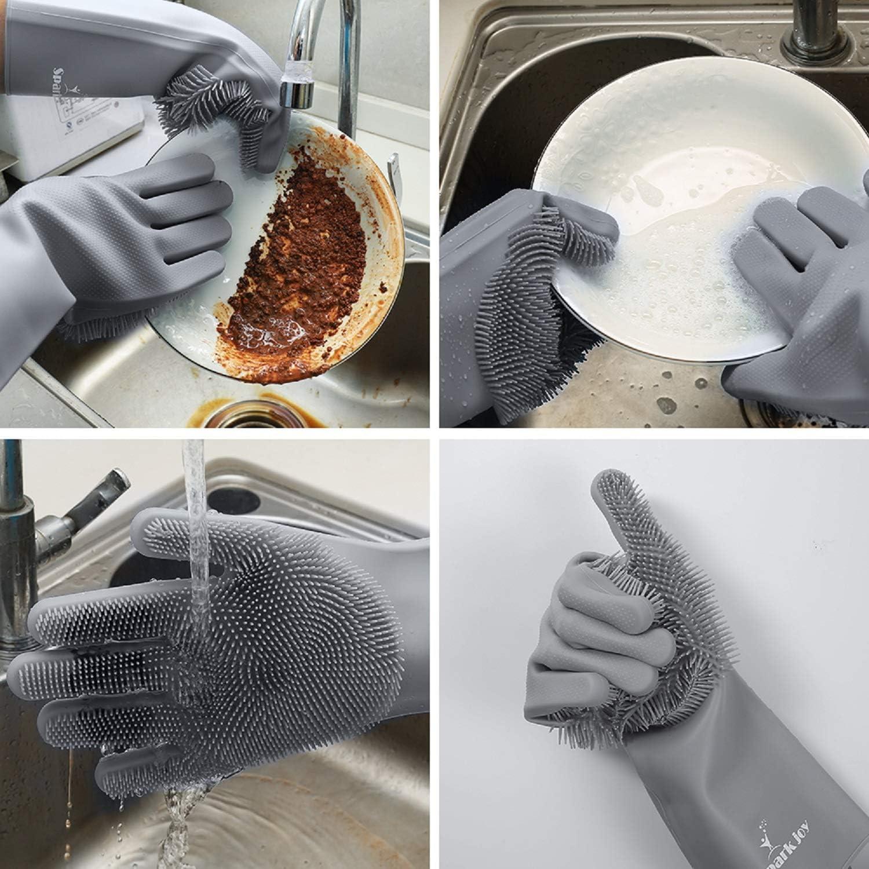 SparkJoy Guantes de silicona reutilizables para lavavajillas, par de guantes de goma para fregar platos, lavar guantes con esponja para lavar cocina, baño, coche y más, Spark Joy Magic - Guantes de