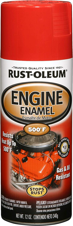 Rust-Oleum 248948 Automotive Rust Preventive Engine Enamel Spray Paint, 12 Oz Aerosol Can, Ford Red