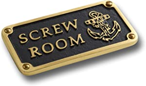 The Metal Foundry Nautical Bathroom Décor Accessories Brass Plaque. Beach Theme Funny Wall Decoration Screw Room Sign