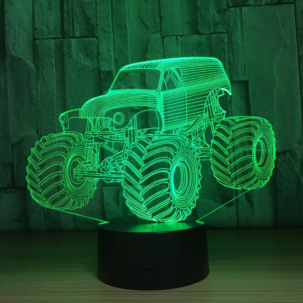 WBYD 3D Night Light Visualization Glow 7 Color Change USB Touch Button and Intelligent Remote Control Desk Table Lighting Nice Gift Home Office Decorations Toys (Big car)