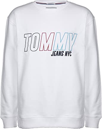 72300bcd7 Tommy Jeans Vintage Graphic Sweater Classic White  Amazon.co.uk  Clothing