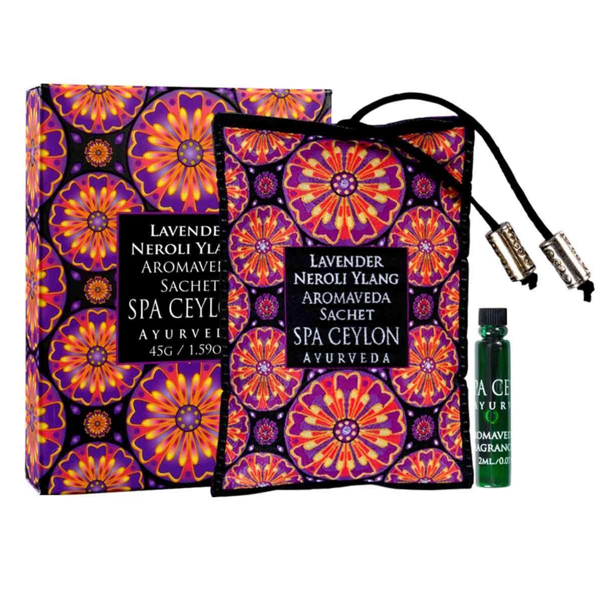 Spa Ceylon Luxury Ayurveda Lavender Neroli Ylang Aromaveda Aroma Sachet, Aromatherapy Blend with Essential Oils, 45 Grams