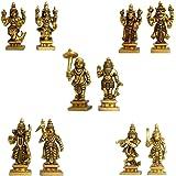 MetalDecor Dashavataram -Ten Incarnations/Avatars of Lord Vishnu -Lord Vishnu All Avtar Statues is Made Brass with Details Worked by India Artisan.