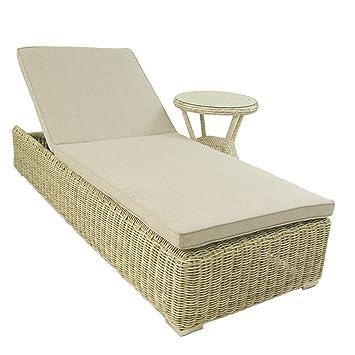Conjunto muebles jardín | Tumbona reclinable y mesa auxiliar | Blanco envejecido | Aluminio y rattán sintético | Portes gratis