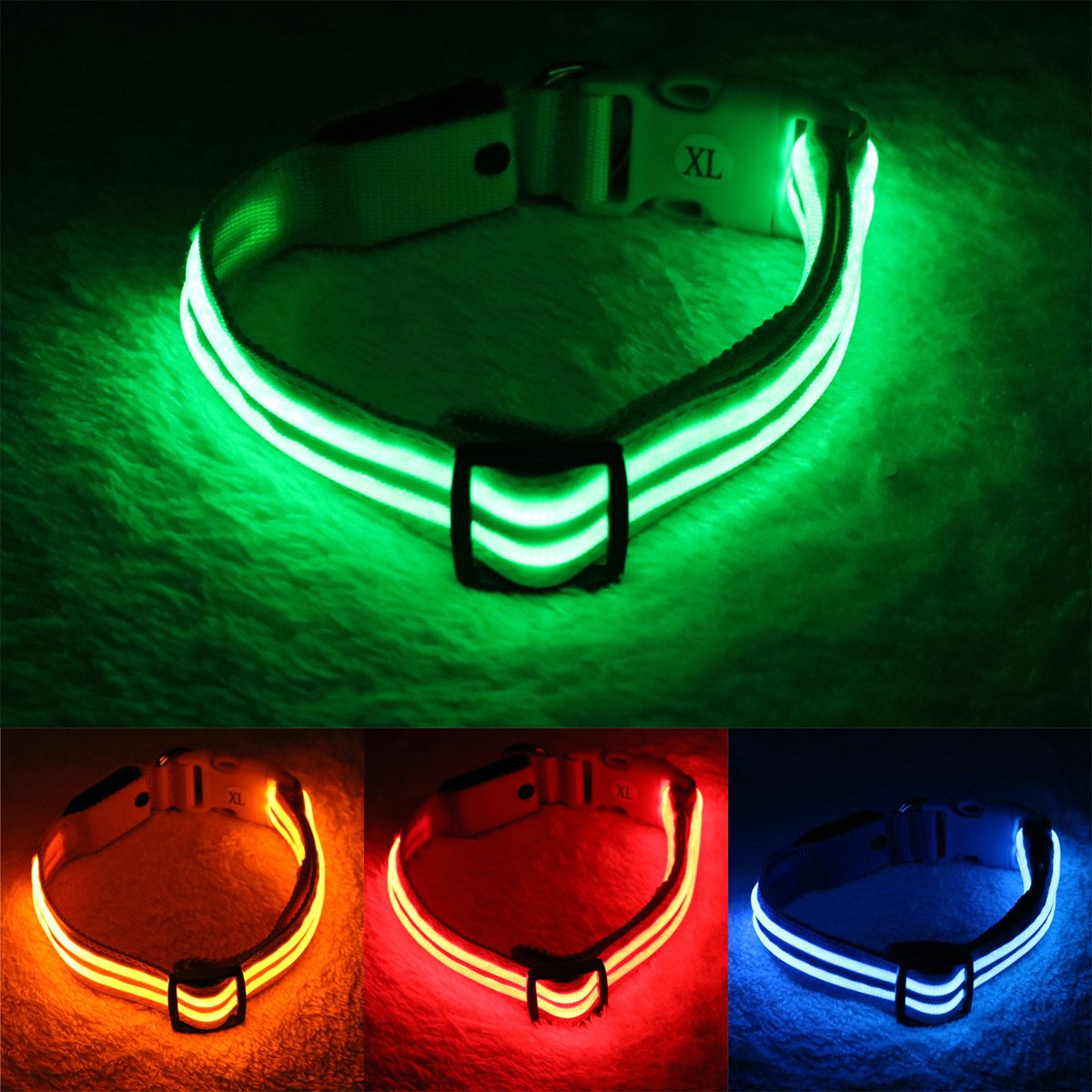 Neon Green Medium(13-17\ Neon Green Medium(13-17\ csspet Green LED Dog Collar Lighted, USB Rechargeable, Keep Your Dog Visible, Safe & Glowing at Night