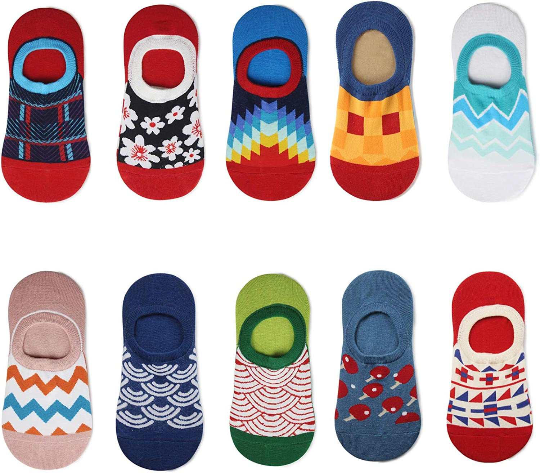 NNNKO Women Girls Socks Cotton No Show Low Cut Casual Invisible Socks Non Slip Flat Boat Liner Ankle Socks Fun Dress Socks