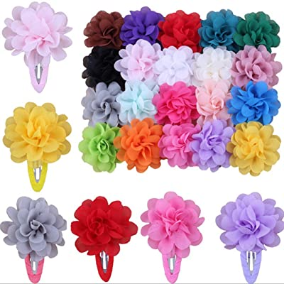 10Pcs Baby Girls Toddler Chiffon Flower Hair Bow Clips Snap Hair Clips Hairpin Hair Accessories Random Color