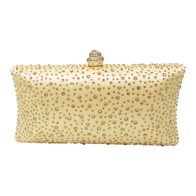 Alltid insistera på framgång lyxig mocka aftonväska kvinnors kuvertväska kristall aftonväska plånbok handväska aftonväska (färg: Guld) Guld