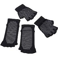 LIOOBO Calcetines Antideslizantes de Yoga Guantes Agarre sin Dedos Calcetín con Puntos Silicona para Yoga Pilates Ballet Barre - Tamaño Libre(Negro)