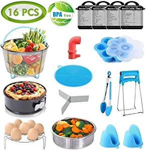 16 Pcs Instant Pot Accessories Set Fits 6,8Qt - 2 Steamer Baskets, Non-stick Springform Pan, Egg/Steamer Rack, Egg Bites Mold, Tong, Mitts, Magnetic Cheat Sheets, Steam Release, Sponge, PerfeCome