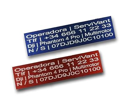 SERVIVANT ● Kit de 2 Placas Identificativas para Drones ● Placas para Drones OBLIGATORIAS según normativa AESA ● Tamaño Personalizados para Todos los ...
