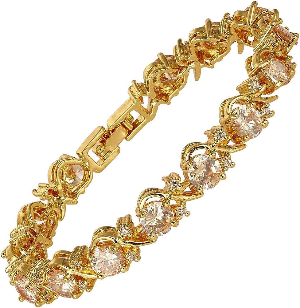 Rizilia Flor Tenis Pulsera [18cm/7inch] con Corte Redondo Piedras Preciosas Circonita CZ [6 Colores Disponibles] en 18K Chapado en Oro Amarillo, Elegancia Moderna Sencillo