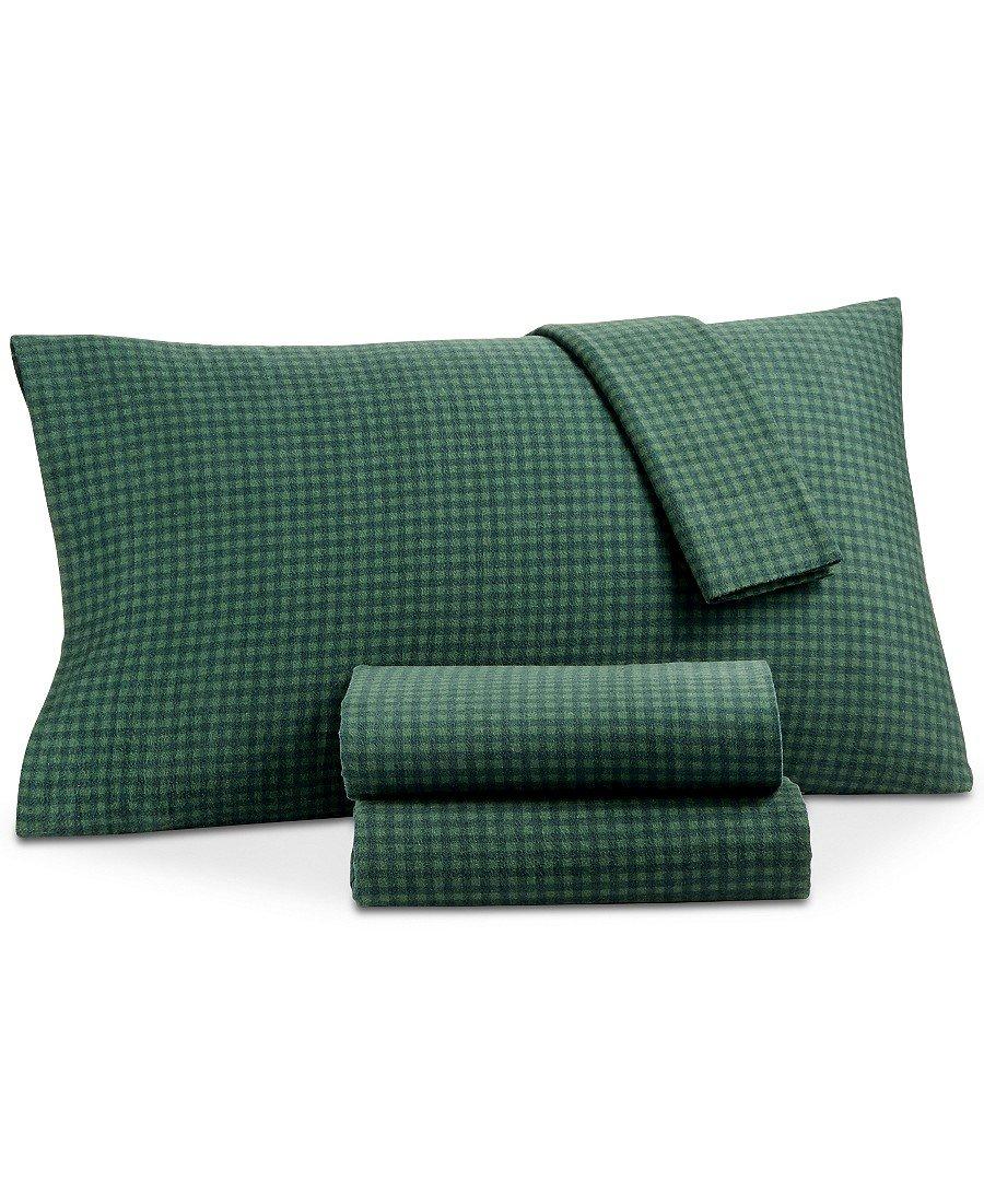 Martha Stewart Collection 100% Cotton Flannel Sheet Set (Queen, Warwick Check)