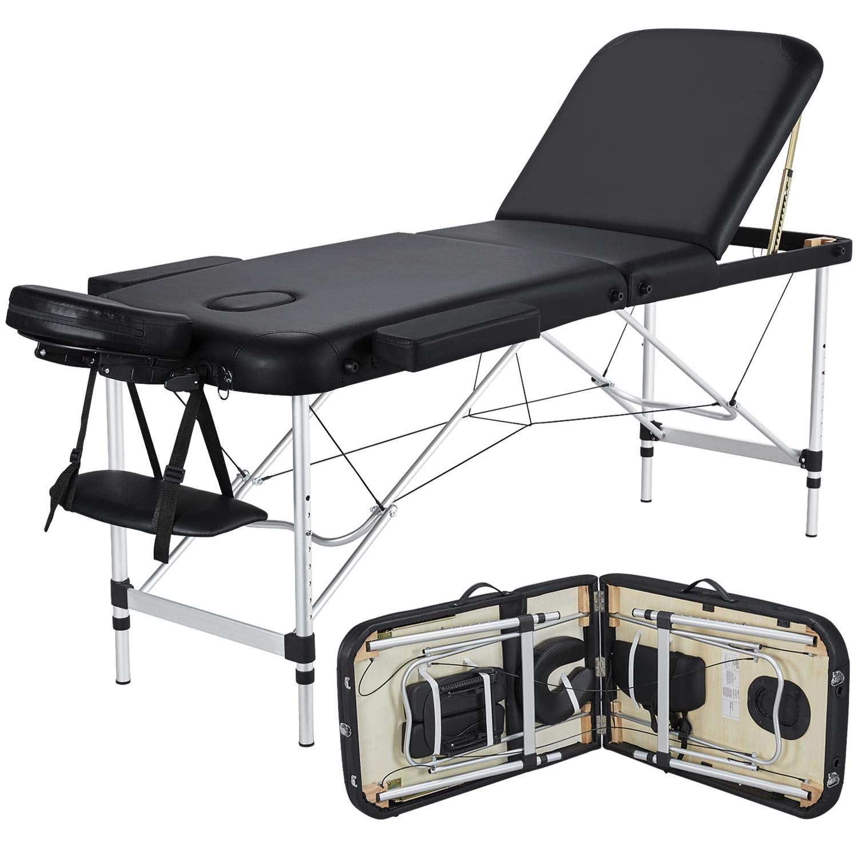 Yaheetech Massage Table Portable Massage Bed 10 Folding 10 Inch Aluminium  Frame Lightweight Height Adjustable Salon Spa Table - Black