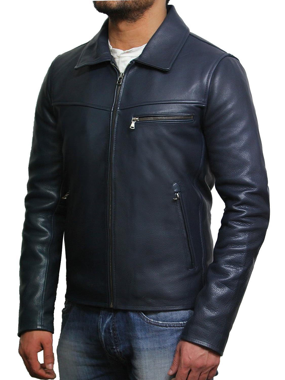 Brandslock Mens Genuine Double Leather Biker Jacket Slim Fit Brando