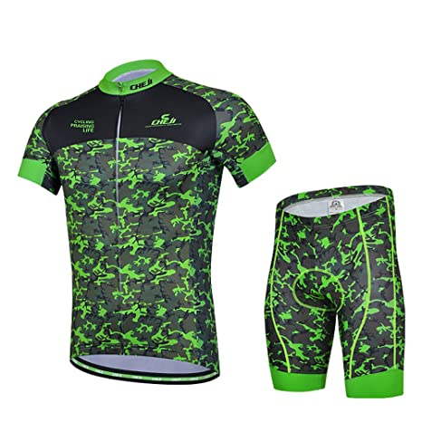 hebike Verde Camuflaje Hombre Jersey De Bicicleta 3d acolchado ...