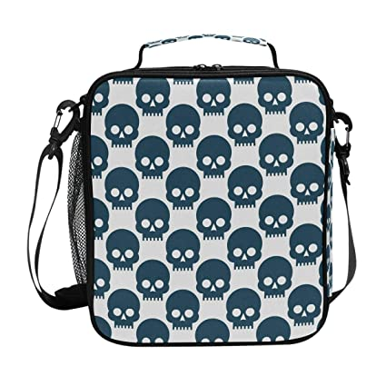 8cbe2067ce2b Amazon.com: Square Insulated Pattern Black Skulls Lunch Tote Bag ...